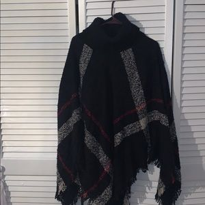 Blue, red and cream sweater poncho